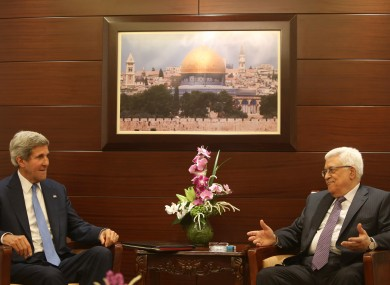John Kerry with Mohamoud Abbas in Jordan today