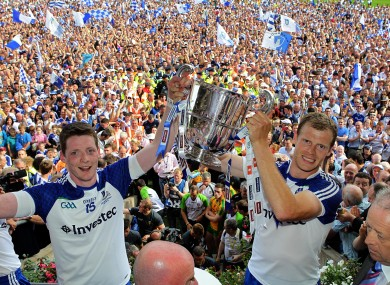 Monaghan's Owen Lennon and Conor McManus lift the Anglo-Celt Cup.
