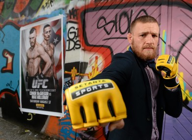 McGregor posing at the Setanta Sports media event yesterday.