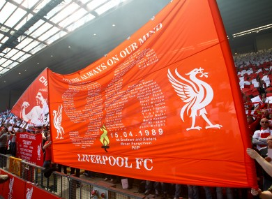 Banners in the Kop end dedicated to the victims of the Hillsborough tragedy.