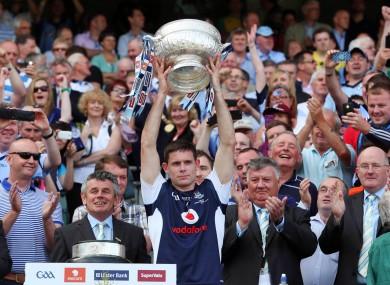 Dublin captain Stephen Cluxton lifts the Delaney Cup.