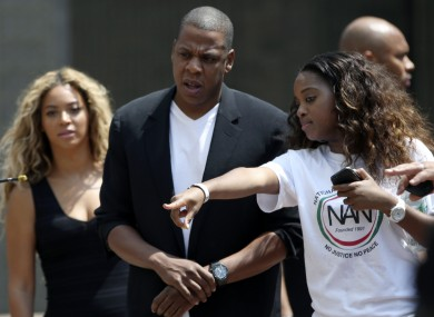 Beyonce and Jay Z at the Justice for Trayvon rally in New York.