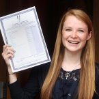 Fiona O Connor (18) holds up her results sheet. Photo: Sam Boal/Photocall Ireland