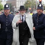 Ger O'Leary plays Jim Larkin as the scene of Bloody Sunday was played out earlier.<span class=