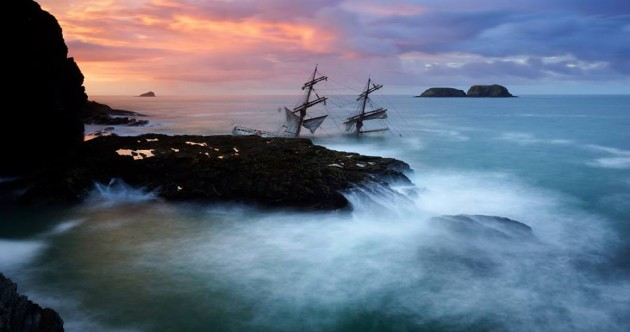 Pictures: Stunning photos capture wreck of Tall Ship Astrid at dawn