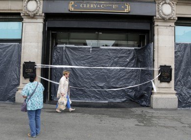 The front of Clerys on O'Connell Street the day after the storm