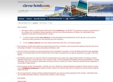 The statement on the Clever Hotels website