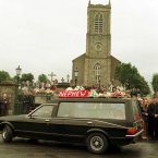 The coffin of Oran Doherty enters the church. (Pic: Photocall Ireland)