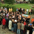 The coffin of Oran Doherty (8) draped in a Celtic Football club flag enters the church. Oran, Shaun McLaughlin (12) and James Barker (12) were buried side by side after mass at St Mary's Church in Buncrana, Co Donegal. (Pic taken on 19/8/1998 by Photocall Ireland)