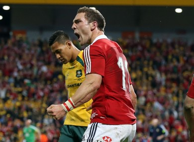 George North celebrates scoring a try for the Lions against Australia.