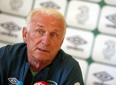 Giovanni Trapattoni answering questions at yesterday's press conference.