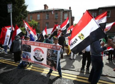 Friends of the Halawa family gathered at the Egyptian Embassy in Dublin demanding the release of four Irish siblings detained by Egyptian authorities in Egypt.