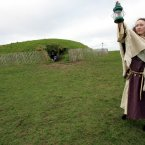 Niamh Eustace as Bridget performing a spiritual Imbolg ceremony at the Hill of Tara in Co Meath in celebration of St Bridget`s Day in 2005. (Photo: Photocall Ireland)