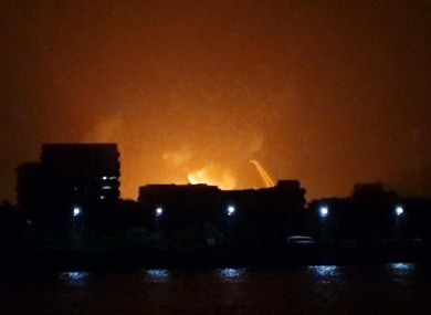 The night sky lit up the the fire on the INS Sindhurakshak on Wednesday