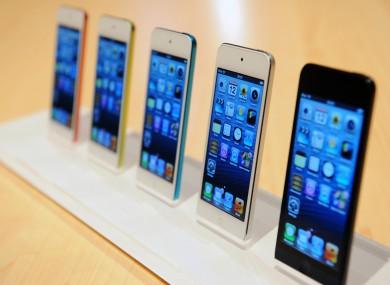 iPhone 5's on display.
