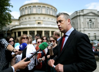Colm Keaveney speaking to the media after resigning from Labour in June.