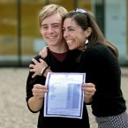 Mark Berney at Gorey Community College, Co. Wexford with his mother Nicky Deacon and his cert with 9 A1's. Pic: Julien Behal/PA Wire
