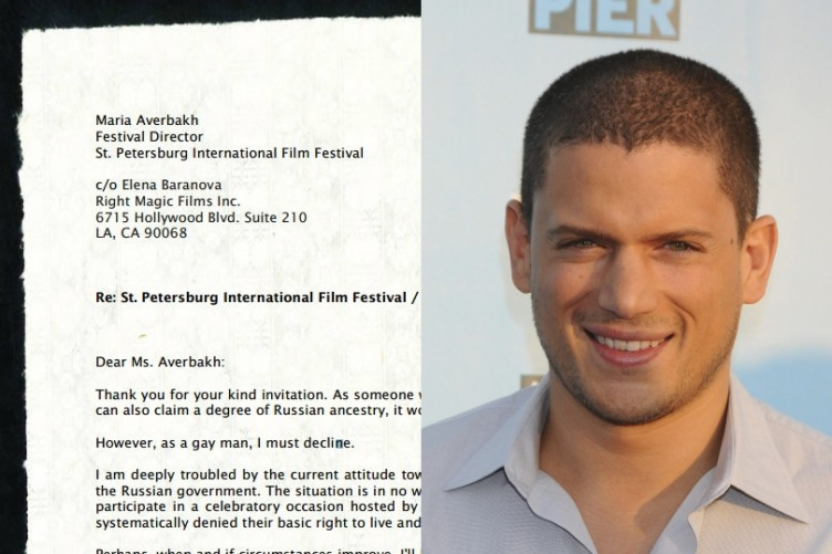 Heres the letter gay actor Wentworth Miller sent to a Russian film