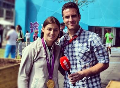 Katie Taylor with Joe Molloy at London 2012.