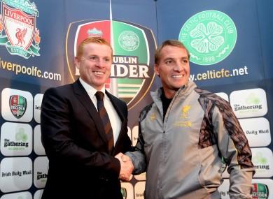 Rodgers and Celtic boss Neil Lennon meet ahead of the Dublin Decider at the Aviva Stadium.