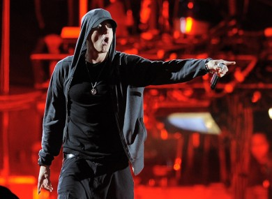 Eminem performs onstage at the 2012 Coachella Valley Music and Arts Festival.