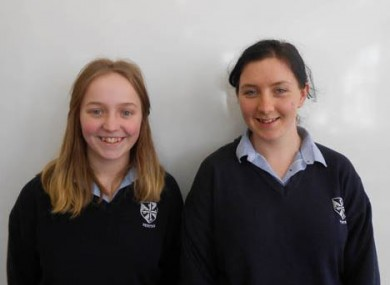 Students Sive Neary and Aoife Troxel who placed second in the world in the poster competition.