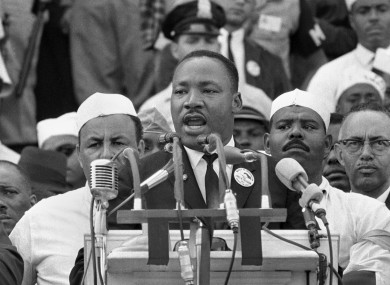 Martin Luther King delivering his most famous and rousing speech.