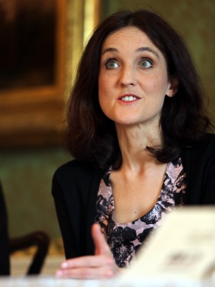 Theresa Villiers speaking at a conference in April.
