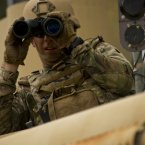 Techs are also savvy on the military's high-grade range finder binoculars. Getting eyes on the target is key.