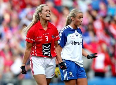 Cork's Brid Stack celebrates Valerie Mulcahy's goal.
