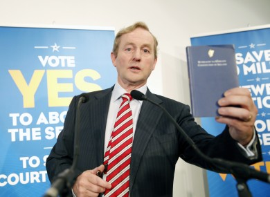 Enda Kenny speaking at the launch of Fine Gael's referenda campaigns today