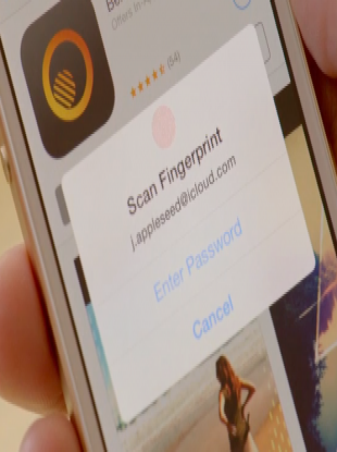 Apple's new 'Touch ID' fingerprint recognition on the iPhone 5S.