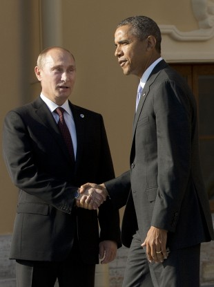 President Barack Obama shakes hands with Russian President Vladimir Putin at the G20.