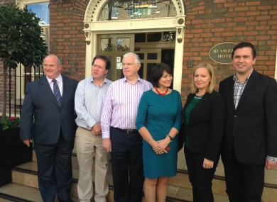 The Reform Alliance members outside Buswells Hotel today.