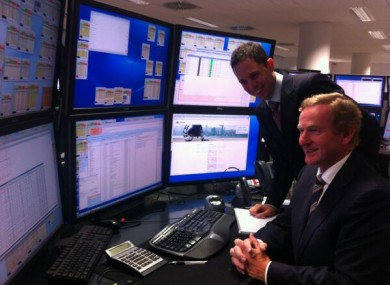 Taoiseach Enda Kenny with David Furlong, the MD (Ireland) of Virtu Financials, at the opening of its European headquarters in Dublin.