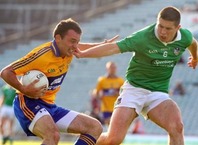 Limerick's John Riordan and David Tubridy of Clare.