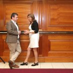 The Minister for Social Protection, Joan Burton TD, is pictured talking with Minister for State for Public and Commuter Transport, Alan Kelly TD<span class=
