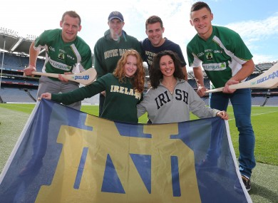 Jackie Tyrrell, far left, and Lee Chin, far right, with Notre Dame graduates Dan McGeever, Joe Wawrzynsky, Marissa Gaskill and Katie Kenney at yesterday's launch in Croke Park.