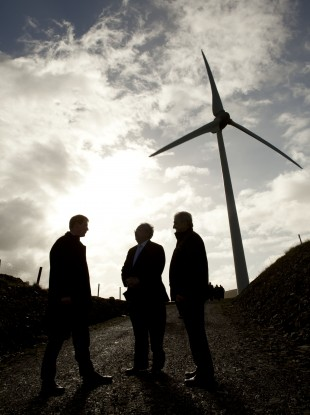 Paul Kenny, CEO Tipperary Energy Agency, Minister Pat Rabbitte, John Fogarty, Chairman of the Templederry Community Wind Farm.