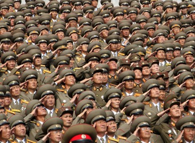 North Korean soldiers salute during a military parade in Pyongyang this week.