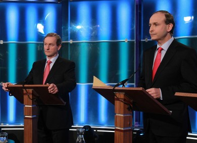 Enda Kenny and Micheál Martin a RTÉ leaders' debate in 2011