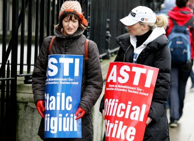 Workers on an official ASTI picket in 2009. (File photo)