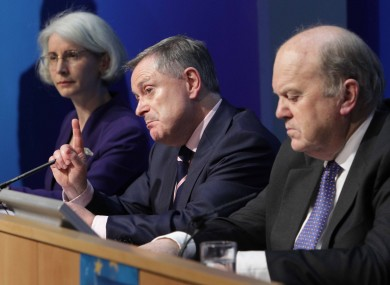 Brendan Howlin at a press conference in Dublin this evening