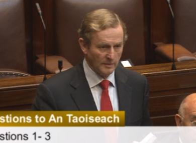Enda Kenny speaking to Micheál Martin in the Dáil twelve days ago.