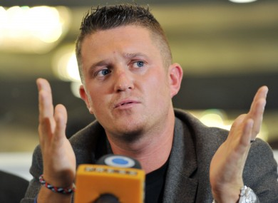 Tommy Robinson at a press conference announcing his decision yesterday