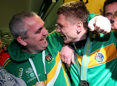 Jason Quigley with his uncle Billy at Dublin Airport.