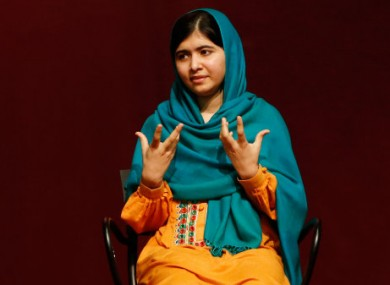 Malala Yousafzai speaks to an audience at Boston College High School on Saturday.