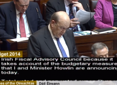 Michael Noonan giving the Budget speech in the Dáil chamber this afternoon