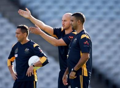 Australia coach Michael O'Loughlin and Tadhg Kennelly.