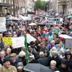 Pensioners protest. Thousands of pensioners protest outside Leinster House this afternoon<span class=